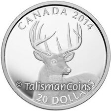Canada 2014 White Tailed Deer 1 Portrait of 10-Point Buck $20 Pure Silver Proof