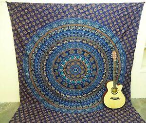 Mandala Tapestry Elephant Bedspread Bohemian Wall Hanging Blue TA48