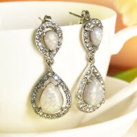 Woman Chic Silver White Topaz Opal Dangle Earrings Birthday Wedding Gifts Newly