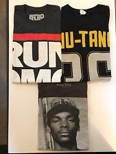 Lot of 3 Hip Hop Tees - Mens Sz Small - Wu Tang, Snoop, Run DMC