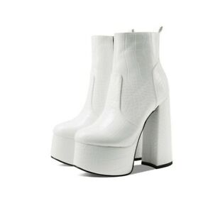 43 42 41 Sexy Women Faux Leather Round Toe Platform High Heel Ankle Boots Club L