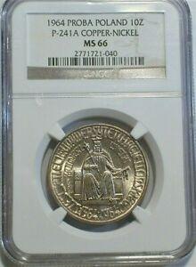 1964 PROBA Poland Pattern Coin NGC MS 66 KM#PR99 P-241a - C/N Low Mintage (591)
