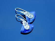 Lapis Lazuli Natural Gemstone 925 Sterling Silver Earrings Healing Stone Chakra