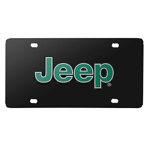 Jeep Green 3D Logo Black Stainless Steel License Plate