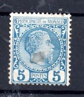 Monaco 1885 5c blue (slight thin) mint LHM SC#3 WS15450