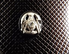 Antique MASONIC 14KT White Gold Ring Top .20CTW Diamond 2.5GRAMS 14x16mm