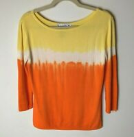 Joseph A. Women's Top Size Medium 3/4 Sleeves Ribbed Casual Orange Yellow White