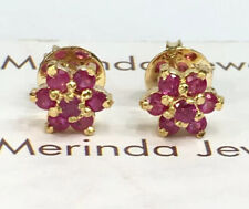 14k Solid Yellow Gold Small Flower Stud Earrings, Natural Ruby 1.88 Grams