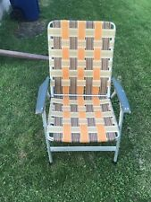 Vintage Webbed Folding Aluminum Lawn Pool Patio Chair Orange White
