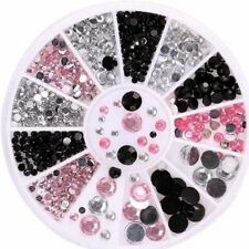 Cute Glitter Rhinestone 3 Colors Crystal 3D Nail Art Tips Gems DIY Decor + Wheel