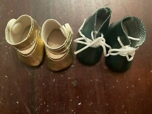 2 Pairs Doll Shoes For Bisque Or Composition Small Doll