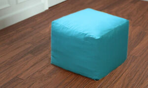 """22"""" Square Footstool Cover Turquoise Pouf Ottoman Covers Seating Ottoman Covers"""