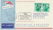 ÖSTERREICH AUA ERSTFLUG 1959 WIEN – AMSTERDAM (Stempel-Nr. 2) K1 WIEN/FLUGHAFEN