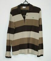 Mens LACOSTE Devanlay Long Sleeve Polo Shirt Brown Stripped Vintage Size 3 Small