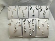 Wholesale Lot Of PEARLS Necklace And Earrings Set STERLING SILVER & RHODIUM