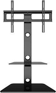 BONTEC TV Floor Stand with 2 Tempered Glass Shelves for 30-65 LED OLED LCD Flat