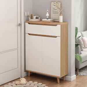 White Oak Small Shoe Cabinet Storage Rack with 4 Shelves Hallway Gate Doorside