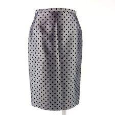 ALBERTINA Couture Damen Rock Gr 36 Grau Schwarz Gepunktet Satin NP 259 NEU