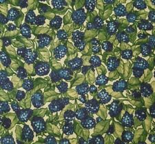 Floral BTY Leslie Beck for VIP Cranston Blue Hydrangea Green Leaves on Tan