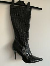 Knee High Black Leather Croc Stiletto Heel Boots_size 38_made In Itay_RRP £210
