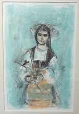 Mid-Century EDNA HIBEL Signed and #'D Lithograph GIRLS with FLOWERS