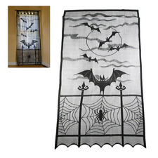 Halloween Curtain Window Bat Spider Curtains Blinds Black Lace Drapes Decor New