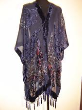 Velvet Kimono Fringe Jacket Devore