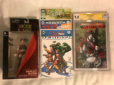 Lot Of HARLEY QUINN!JUSTICE LEAGUE#47 SS CGC 9.8/G.Johns,J.Fabok+Action Figure+3