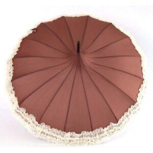 Long Handle Windproof Umbrella Sun And Rain Use 16 Ribs Lace Design Pagoda Type