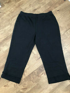 Denim & Co. Black French Terry Crop Trousers with Roll Tab - XL