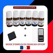 TESTEUR OR 6 FLACON PRET A L'EMPLOI 9 14 18 24+ARGENT+PLATIN+PIERRE+BALANCE 0.01