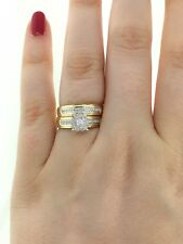 Round Diamond Bridal Set Yellow Gold Over Engagement Wedding Ring 2.00 Ct