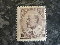 CANADA POSTAGE STAMP SG182 TEN CENTS OFF CENTRE BROWN/LILAC LIGHTLY MOUNTED MINT