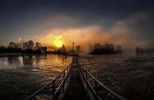 Framed Print - Foot Bridge Across a Raging River (Picture Poster Scenic Art)