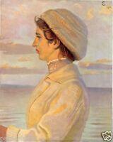 Reiterin Kunstdruck von 1915 Chistian Speyer reiten Pferd Dame Strand Damenhut