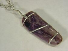 BUTW Sterling Silver Wire Wrapped AAA Siberian charoite pendant necklace 9266C