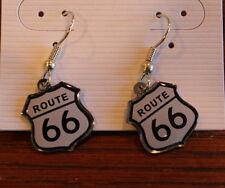 New Route 66 Dangle Earrings Fashion Roadsign White Jewlery
