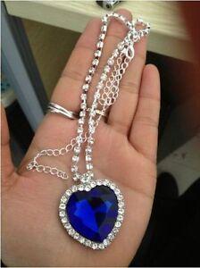 9k Real White Gold Filled Women's/Blue Diamond Heart Shape Necklace&Pendant No88