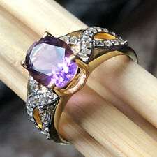 R463f Elegant Ring Silver Plated Natural Stone Amethyst Purple Adjustable Size