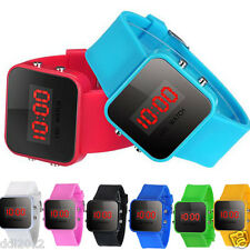Girl Boy Unisex Digital LED Screen Silicone Band Sports Dial Kids Wrist Watches
