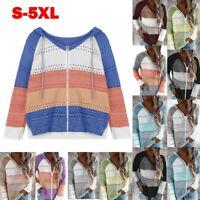 Women Long Sleeve Knitted Hooded Sweater Patchwork Hoodie Zipper Pullover Jumper