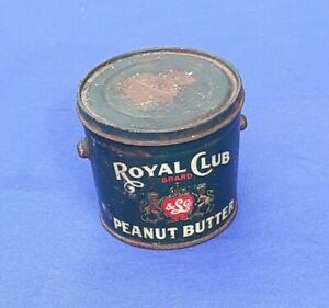 Vintage  Royal Club Peanut Butter Tin 1 lb - CANCO Lang & Co. Portland Oregon