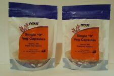 "2 PKGS NOW Single ""0"" Vegetarian Capsules, Approx. 300 Empty Capsules EXP 3/24"