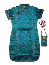 Girls Satin Butterfly Chinese Dress Black Pink Red Turquoise Blue 9 M-16 Year