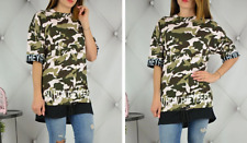 MILITARY SUMMER T-SHIRT CAMOUFLAGE TOP TUNIC BLOUSE WOMENS LADIES OVERSIZE