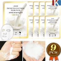 Premium 100% Cotton Goat Milk Mask Sheet 9pcs Anti-aging & Lightening Skin Care