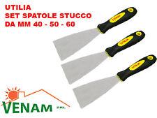 SET SPATOLE PER STUCCO MURO LEGNO UTILIA MANICO GOMMA LAMA INOX mm. 40 - 50 - 60