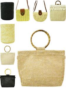 Womens Straw Bag Bohemian Vintage Basket Raffia Wicker Handbag Fashion Gift New