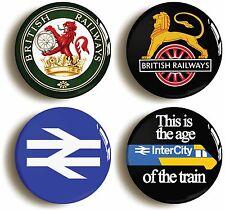 4 x BRITISH RAIL RAILWAYS RETRO LOGO BADGES BUTTONS PINS (1inch/25mm diameter)