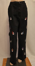QUACKER FACTORY JEANS Black Wash Embroidered SNOWMEN Elastic Waist Size XL